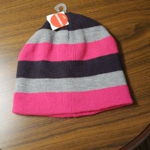Girl's Beanie Pink,  Black,  and Gray